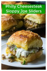 Philly Cheesesteak Sloppy Joe Sliders are the perfect 30 minute meal to feed a crowd. Made with cheesy ground beef, onions and peppers and baked in the oven, these Philly Cheesesteak Sloppy Joe Sliders are fast to make and impossible not to love. | A Wicked Whisk | https://www.awickedwhisk.com #phillycheesesteak #phillycheesesteaksandwich #phillycheesesteaksliders #sloppyjoe #sloppyjoyrecipe #sloppyjoesliders #phillycheesesteaksloppyjoe #phillycheesesteaksloppyjoeslider #phillycheesesteakgroundbeef #phillycheesegroundbeef #phillycheesegroundbeefsloppyjoe #phillycheesegroundbeefslider