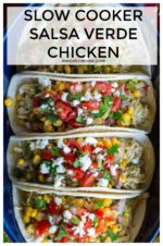Slow Cooker Salsa Verde Chicken is the easiest way to prepare southwest chicken!  Chicken breasts, green chilies and seasoned salsa verde sauce slow-cooked and simmered to perfection.. Perfect for tacos, tostadas, burritos or just served over rice! #salsaverdechicken #slowcookersalsaverdechicken #salsaverdechickencrockpot #salsaverdechickentacos