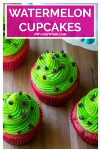 Watermelon Cupcakes are sweet, adorable and and the easiest sweet treat to make. Perfectly festive and fun, theseWatermelon Cupcakes are the perfect dessert to share at all of your pool parties and summer BBQs. | A Wicked Whisk #watermeloncupcake #watermeloncupcakerecipe #watermeloncupcakesdecoration #watermeloncupcakeseasy #watermeloncupcakesideas #homemadewatermeloncupcakes #springcupcakes #springcupcakesflavors #springcupcakesflavors #springcupcakeseasy