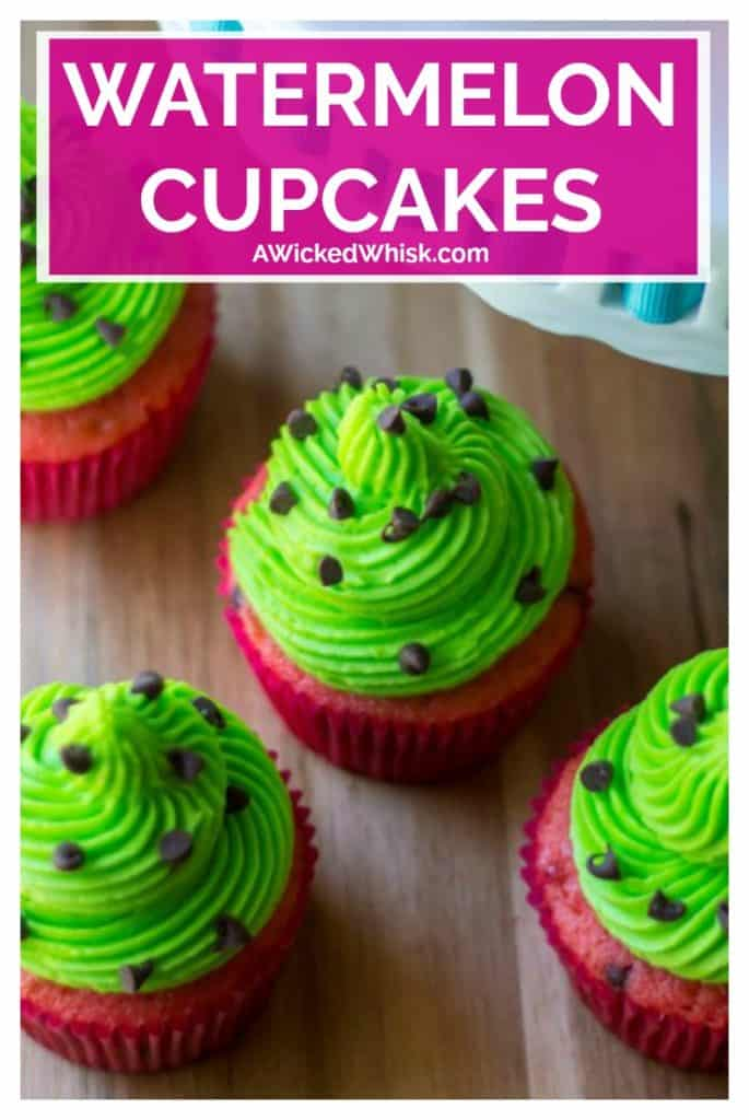 Watermelon Cupcakes are sweet, adorable and and the easiest sweet treat to make. Perfectly festive and fun, these Watermelon Cupcakes are the perfect dessert to share at all of your pool parties and summer BBQs. | A Wicked Whisk #watermeloncupcake #watermeloncupcakerecipe #watermeloncupcakesdecoration #watermeloncupcakeseasy #watermeloncupcakesideas #homemadewatermeloncupcakes #springcupcakes #springcupcakesflavors #springcupcakesflavors #springcupcakeseasy