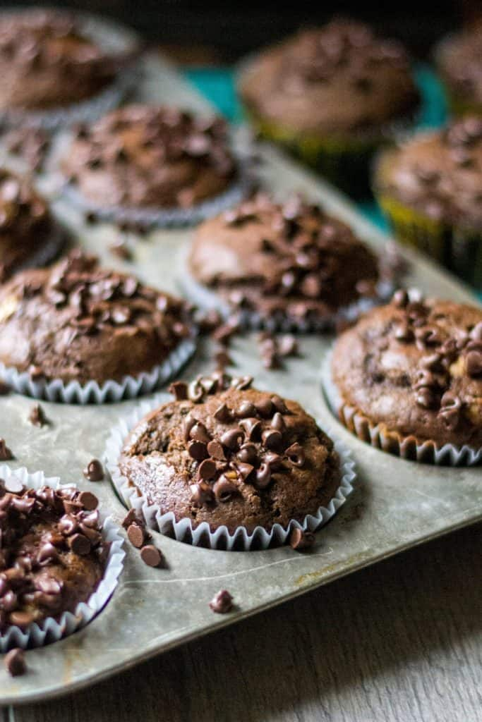 Chocolate Peanut Butter Banana Muffins in a muffin tin