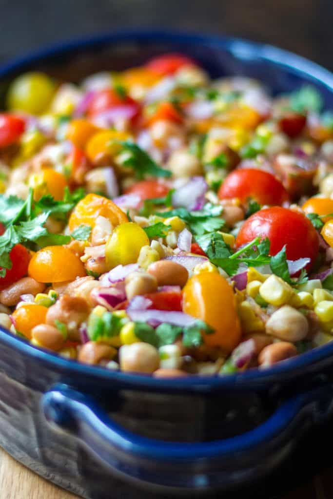 Easy Bean Salad in a serving dish