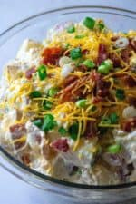 Loaded Potato Salad is tender, creamy red potaotes fully loaded with tons of cheese, bacon and green onions.. The perfect addition to any occasion, this Loaded Potato Salad is the ultimate bbq side dish, pool party snack and summertime dinner table must have!