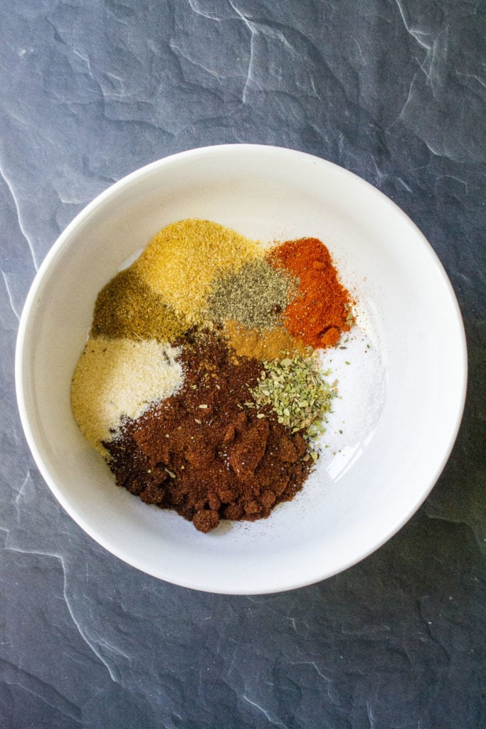 spices for red sauce in bowl