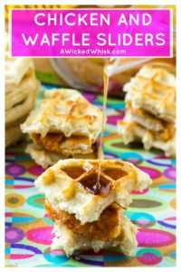 Take breakfast to the next level with these Chicken and Waffle Sliders. Spicy fried chicken paired up with Kellogg's® Eggo Thick & Fluffy Original waffles and drizzled with orange chipotle maple syrup, these Chicken and Waffle Sliders are the ultimate breakfast indulgence! #chickenandwaffles #spicychicken #chickenandwafflesliders #chickenandwafflesappetizer #chickenbreakfast #chickenbreakfastrecipe #comfortfood #comfortfoodsouthern #comfortfoodchicken #breakfastsliders