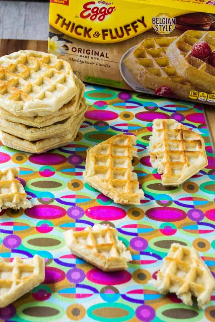 Chicken and Waffle Sliders cut up waffles