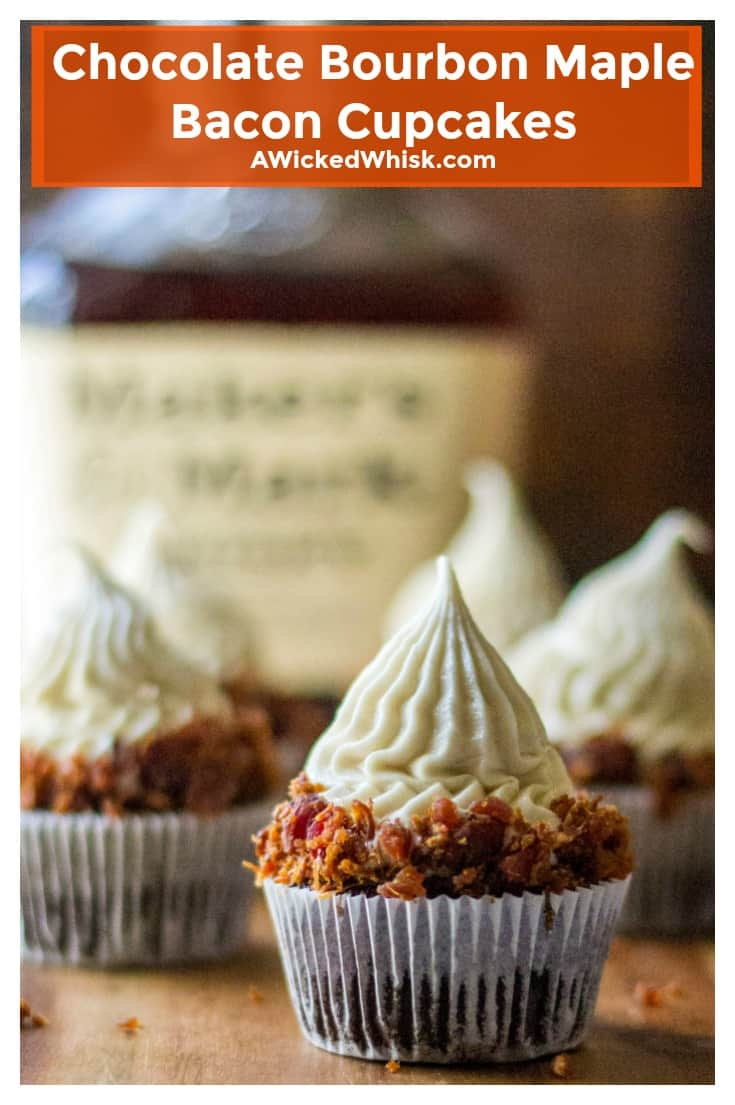 Chocolate Bourbon Maple Bacon Cupcakes are the perfect combination of moist, delicate chocolate bourbon cupcakes topped off with decadent maple Maker's Mark bourbon buttercream frosting and then garnished with little pieces of crispy bacon. Perfect savory twist on a sweet treat classic! #bourboncupcakes #makersmark #makersmarkbourbon #chocolatecupcakes #maplebaconcupcakes #bourboncupcakesbacon #makersmarkcake #fathersdaydessert #boozycupcakesalcohol #stpatricksdaycupcakes