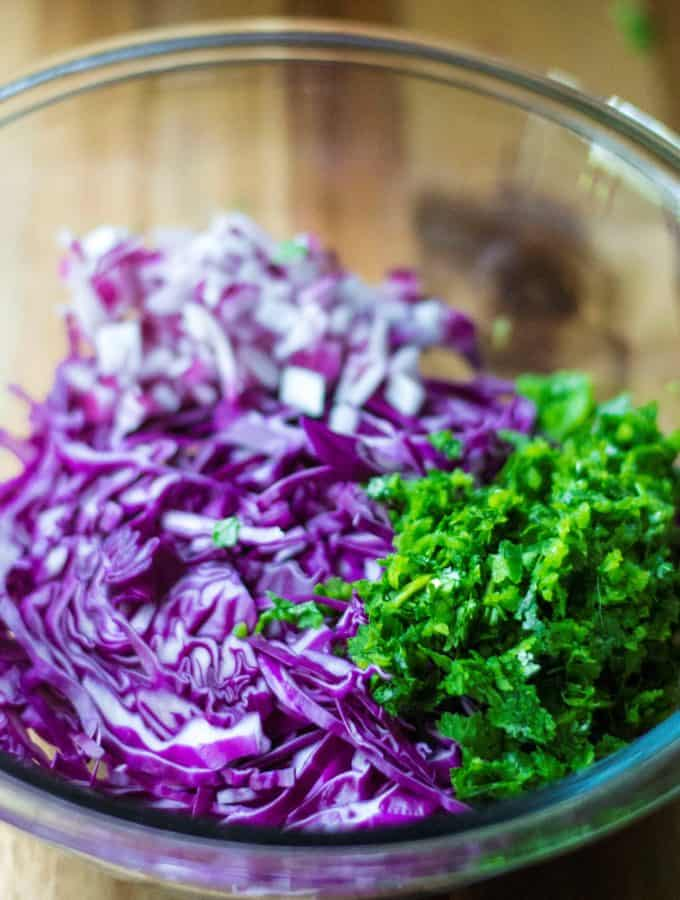 This Tangy Red Cabbage Slaw Recipe is the perfect cabbage slaw for fish tacos, chicken tacos and even pork tacos.  Crunchy purple cabbage mixed with spicy jalapenos, red onions, cilantro and dressed with tangy citrus juice, this Tangy Red Cabbage Slaw Recipe is the only cabbage slaw recipe you will ever need.