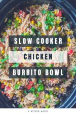 This Slow Cooker Chicken Burrito Bowl is packed full of tender chicken, tasty vegetables and perfectly seasoned rice. Simmered in the crock pot, this easy burrito bowl recipe isthe perfect easy meal to feed your family after a busy day! #slowcookerburritobowl #crockpotburritobowl #slowcookerchickenburritobowl #crockpotchickenandriceburritobowl #burritobowl #chickenburritobowl