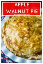 Apple Walnut Pie is a fresh take on your favorite dessert, All-American old fashioned apple pie. Made with Granny Smith apples and tons of chopped walnuts, Apple Walnut Pie is the perfect patriotic apple dessert. #applepie #homemadeapplepie #oldfashionedapplepie #applewalnutpie #easyapplepie #fromscratchapplepie #julyfourthdessert #patrioticdessert #allamericanapplepie #fourthofjulydessert #memorialdaydessert #fourthofjulyfood