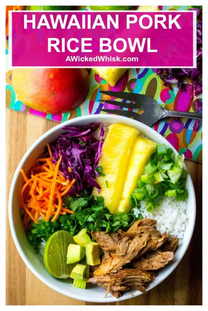 Hawaiian Pork Rice Bowl is sweet spicy slow cooker pork served up over rice, cabbage and pineapple jalapeno salsa in the perfect pork rice bowl. Delicious easy comfort food! #porkbowl #porkricebowl #hawaiianporkricebowl #sweetbabyrayspineapplepork #sweetbabyrayspineappleslowcooker #slowcookerpineapplepork #slowcookerpineapplebarbecuepork #pineapplepork #barbecuepineappleporkslowcooker