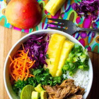 Hawaiian Pork Rice Bowl with ingredients