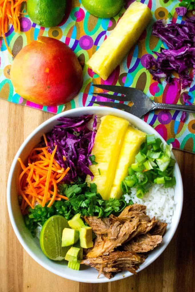 Hawaiian Pork Rice Bowl with ingredients