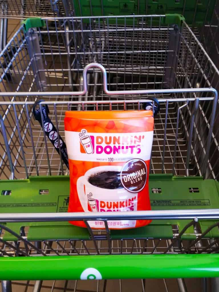 Maple Coffee Cake Dunkin Donuts canister in a cart
