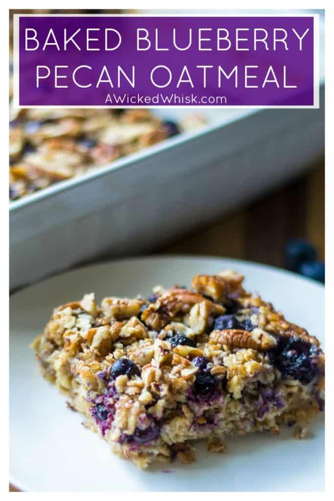 Baked Blueberry Pecan Oatmeal is the BEST Baked Oatmeal recipe and the perfect make it ahead breakfast idea. Ideal to serve for brunch and a perfect back to school breakfast idea, this Baked Blueberry Pecan Oatmeal is a heart-healthy breakfast choice and the leftovers taste just as good the next day! #bakedoatmeal #backtoschoolbreakfast #makeaheadbreakfast #easybrunchidea #bakedblueberryoatmeal #blueberryoatmeal #easybreakfastrecipe #bakedoatmealhealthy #healthybreakfast