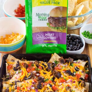 Take your tailgating fun to the next level with these Grilled Fully Loaded Veggie Nachos. Made withMorningStar Farms® Meat Lovers Burgers, these Grilled Fully Loaded Veggie Nachos are loaded up with your favorite toppings and are the perfect meatless vegan snack. Perfect