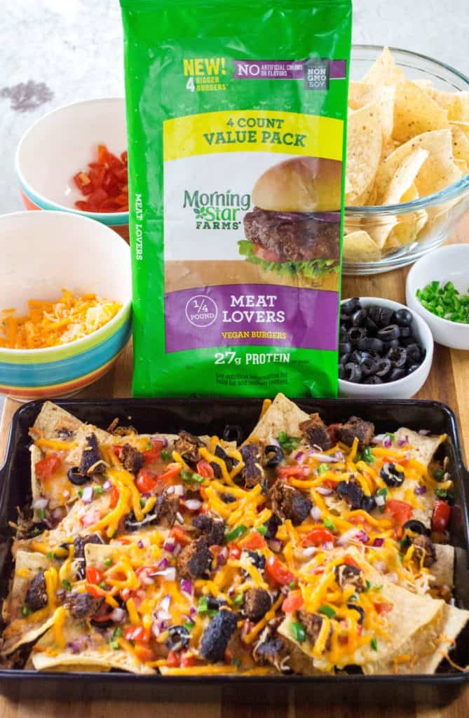 Take your tailgating fun to the next level with these Grilled Fully Loaded Veggie Nachos. Made with MorningStar Farms® Meat Lovers Burgers, these Grilled Fully Loaded Veggie Nachos are loaded up with your favorite toppings and are the perfect meatless vegan snack. Perfect