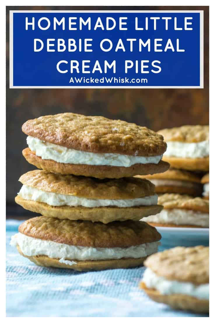 Homemade Oatmeal Cream Pies are the very best grown up version of your favorite childhood snack. Reminiscent of Little Debbie Oatmeal Creme Pies, these Homemade Oatmeal Cream Pies are soft, chewy andperfectly filled with sweet marshmallow creme filling in the middle. #homemadeoatmealcreampies #oatmealcreampies #littledebbieoatmealcreampies #littledebbieoatmealcookies #oatmealcookies #oatmealwhoopiepie #oatmealsandwich #oatmealcreamsandwich #cookiesandwiches