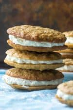 Homemade Oatmeal Cream Pies are the very best grown up version of your favorite childhood snack. Reminiscent of Little Debbie Oatmeal Creme Pies, these Homemade Oatmeal Cream Pies are soft, chewy andperfectly filled with sweet marshmallow creme filling in the middle. .. stacked