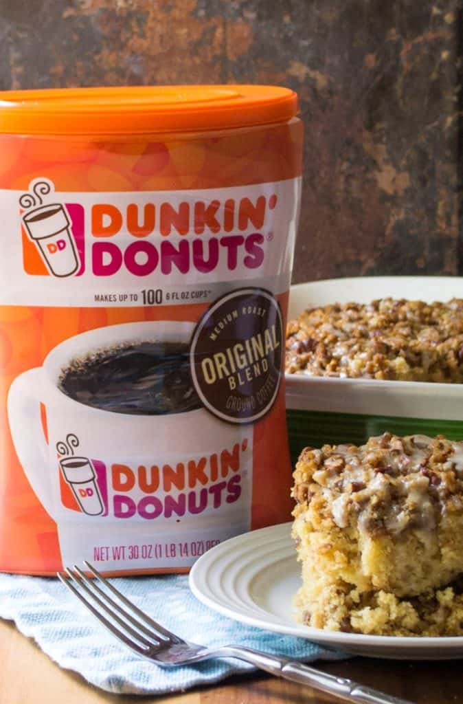 Maple Coffee Cake with Dunkin Donuts coffee canister