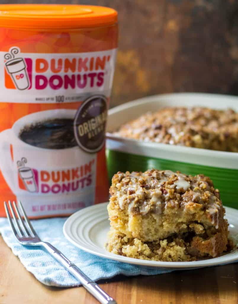 This Maple Coffee Cake is moist, fluffy and layered with sweet pecan struesel to make this the perfect maple pecan coffee cake and the perfect compliment to Dunkin' Donuts® 30oz. Canister Original Blend.