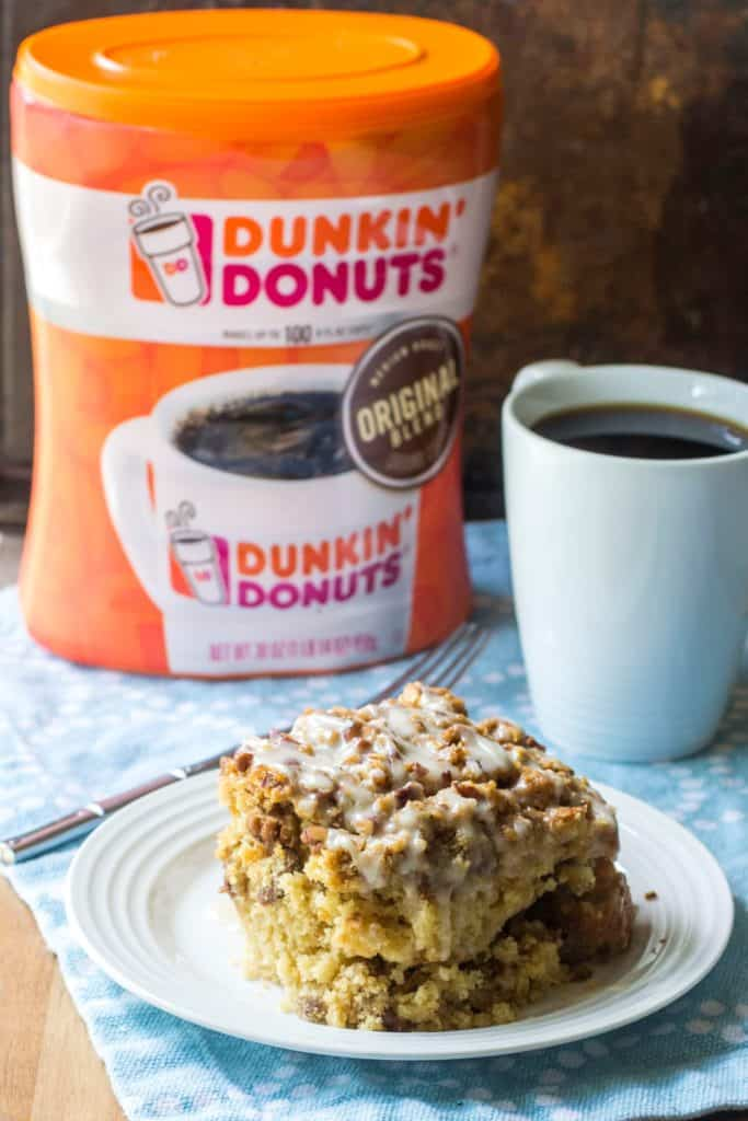Maple Coffee Cake with Dunkin Donutes coffee