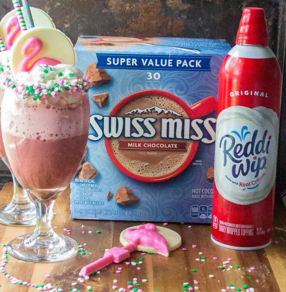 This Pink Velvet Frozen Hot Chocolate Recipe is easy, fast and the very best way to transform your Swiss Miss hot chocolate into a decadent frozen treat to help keep you cool this summer.