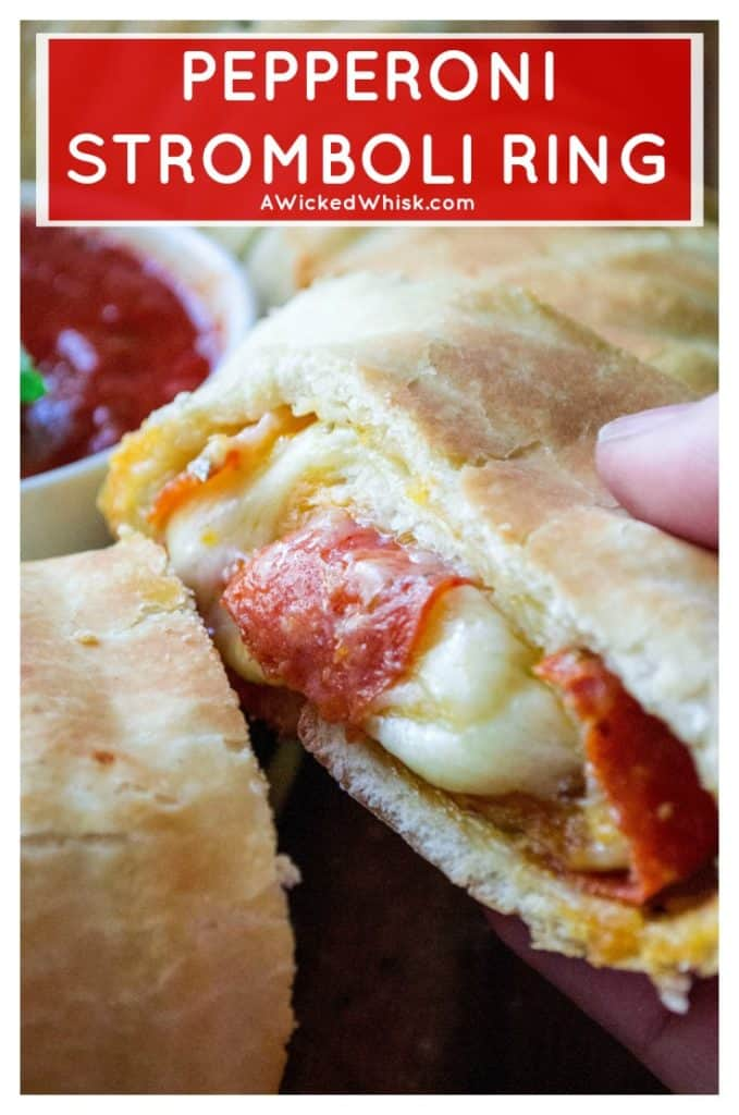 Pepperoni Stromboli Ring is easy to make, packed full of delicious pepperoni pizza flavor and will be your favorite go-to snack to feed a crowd. Perfect for Game-Day tailgaiting parties, holiday get togethers or just Friday night with the family, this Pepperoni Stromboli Ring is always a hit! #stromboliring #pepperonistromboliring #pizzaring #pepperonipizzaeasy #gamedayfood #tailgatingfood #partyfoodeasy #gamedaypizza #stromboli