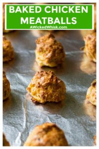 Baked Chicken Meatballs are an easy, healthy meatball alternative to kick up your favorite recipes. Baked in the oven and perfectly seasoned, these are the perfect chicken meatballs to add to soups, stews and all of your favorite pasta dishes. | A WickedWhisk #chickenmeatballs #healthybakedchickenmeatballs #easybakedchickenmeatballs #easybakedchickenmeatballsrecipes #bakedchickenmeatballsoven #healthychickenmeatballs #groundchickenmeatballs #groundchickenrecipes