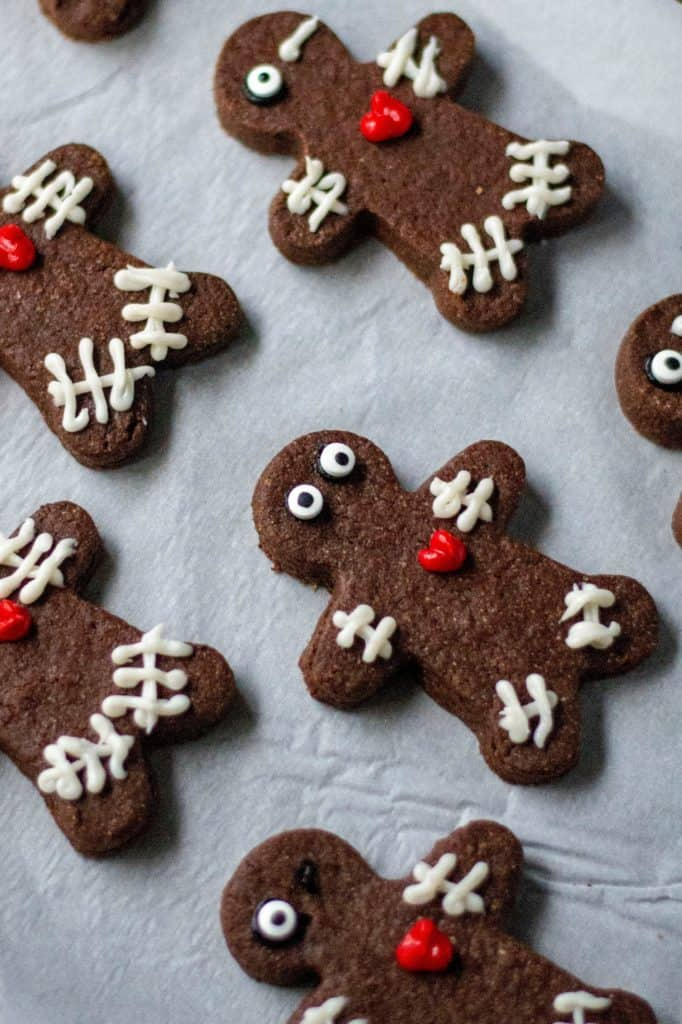 Chocolate Voodoo Doll Cookies are super delicious, they hold their shape and are the perfect Halloween cut out cookies to celebrate the Halloween season.