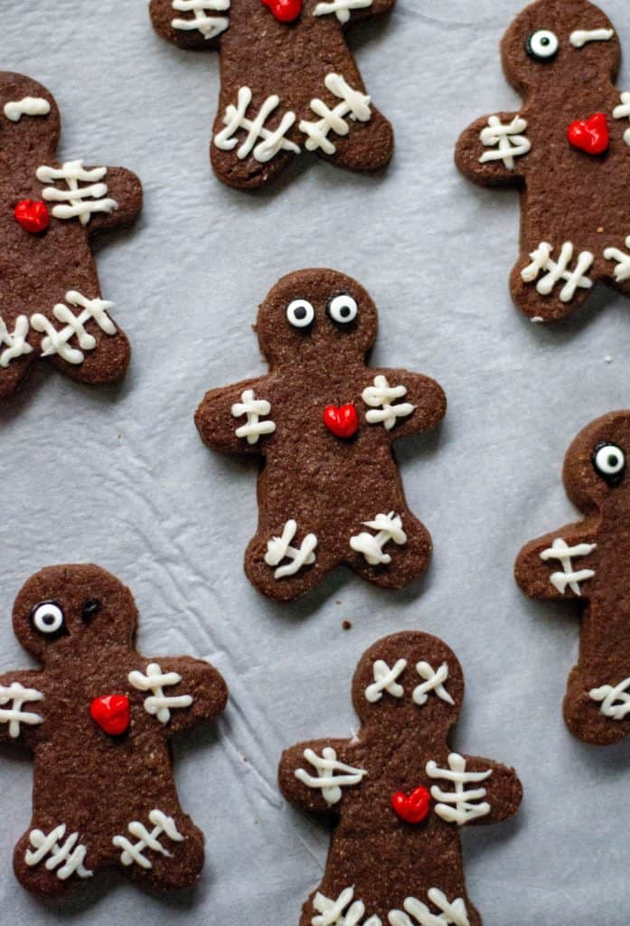 Chocolate Voodoo Doll Cookies are super delicious, they hold their shape and are the perfect Halloween cut out cookies to celebrate the Halloween season.  Perfect!!