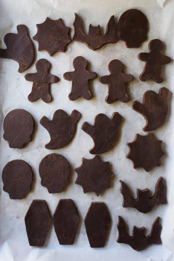 Chocolate Cut Out Cookies on a baking sheet