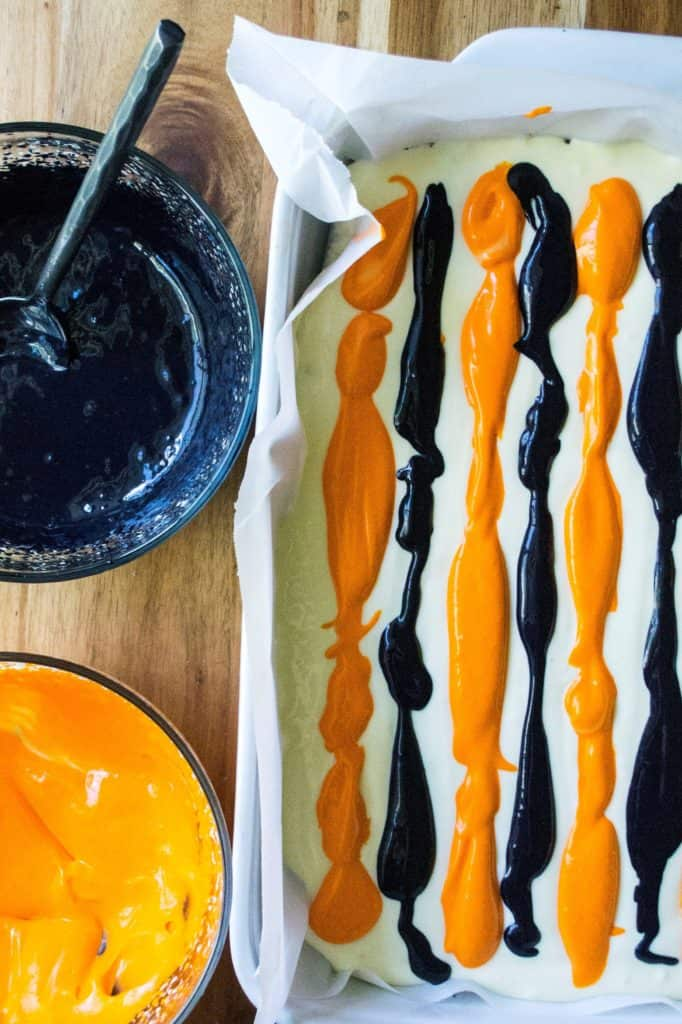 Halloween Cheesecake Bars lines of colors