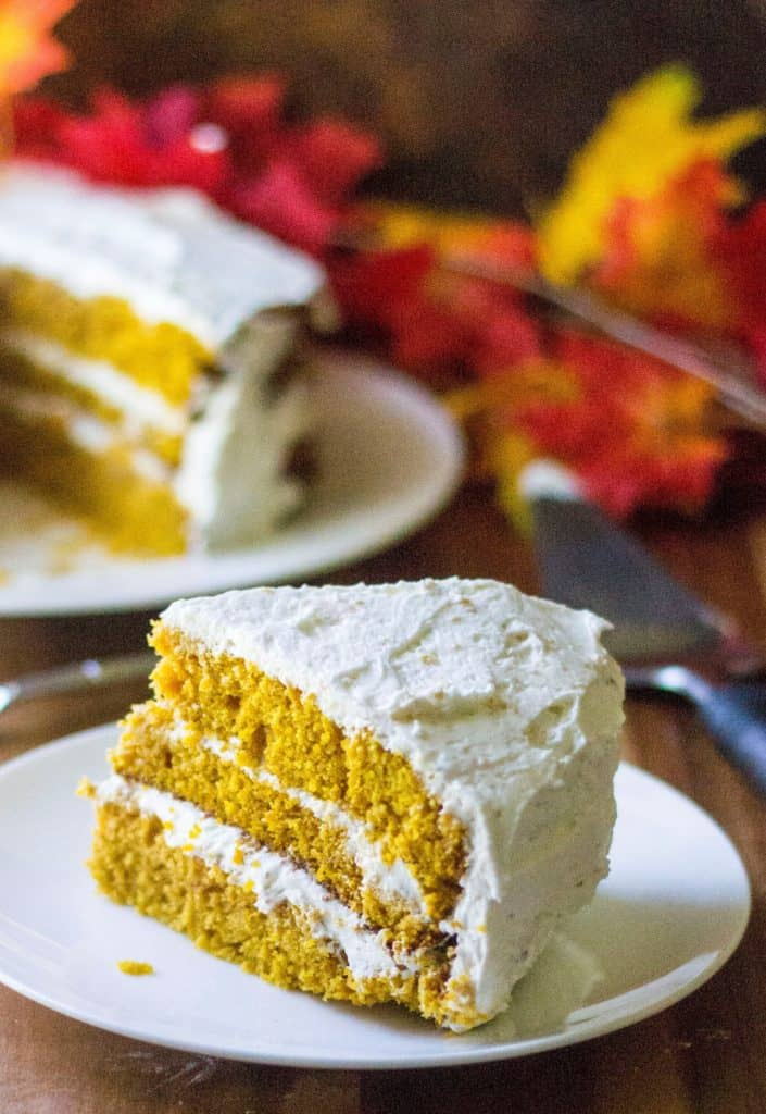 Pumpkin Spice Cake with Cream Cheese Frosting is the most perfect moist pumpkin cake recipe you will ever make and an easy pumpkin dessert to serve up anytime of the year! Perfect!