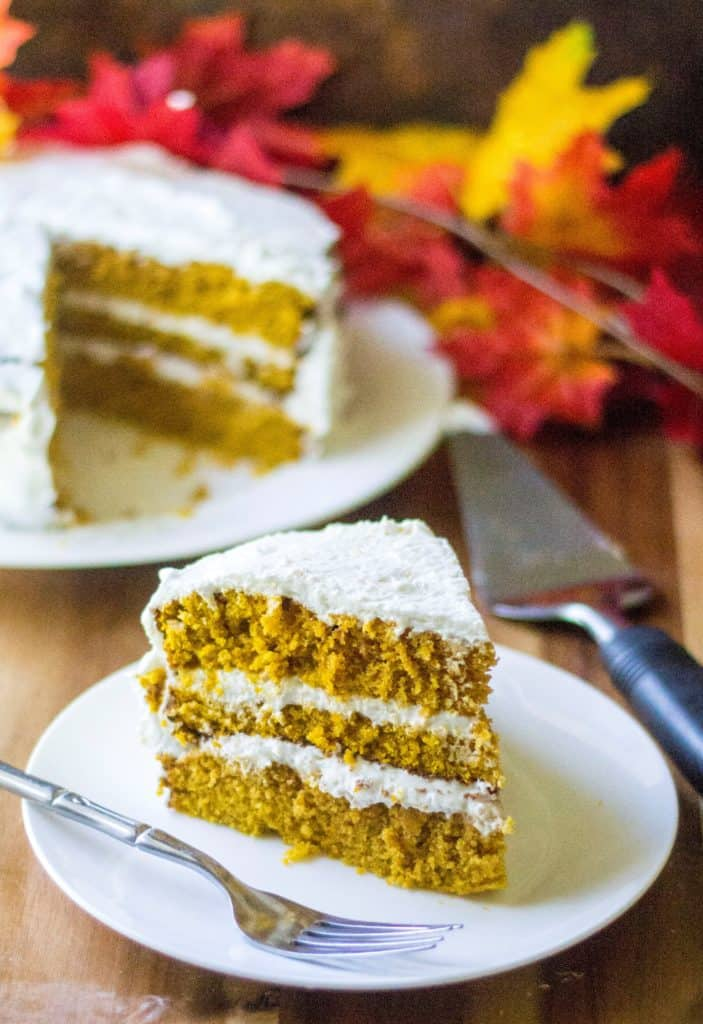 Pumpkin Spice Cake with Cream Cheese Frosting is the most perfect moist pumpkin cake recipe you will ever make and an easy pumpkin dessert to serve up anytime of the year! Excellent!
