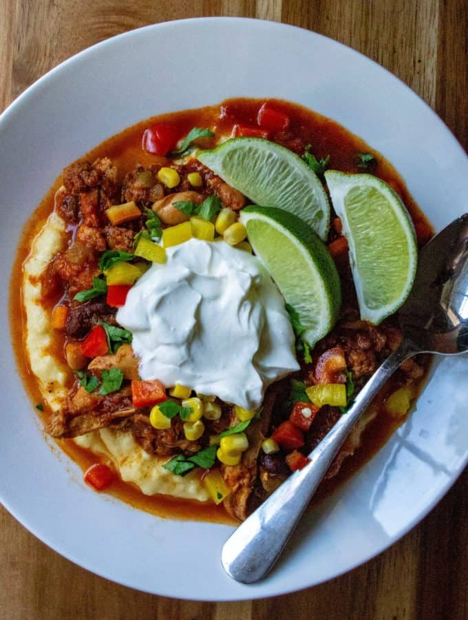 Easy Slow Cooker Mexican Chorizo Chili is a hearty spicy chicken chorizo chili packed with flavor and the perfect comfort food made easy in the slow cooker.
