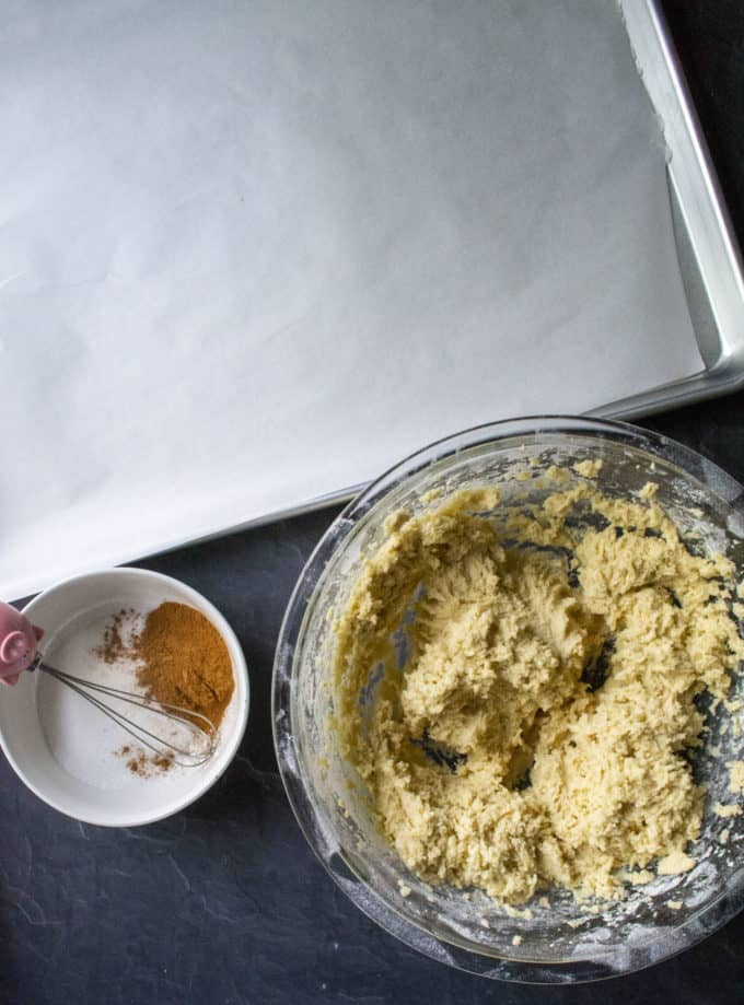 snickerdoodle cookies being made