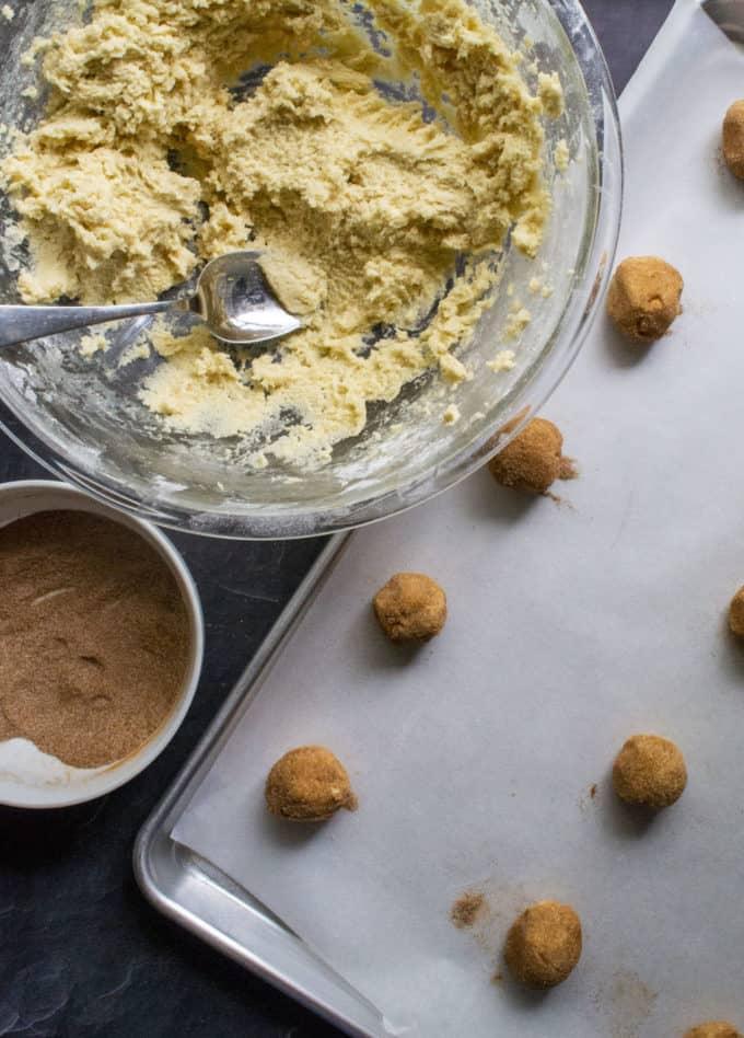 making snickerdoodle cookies