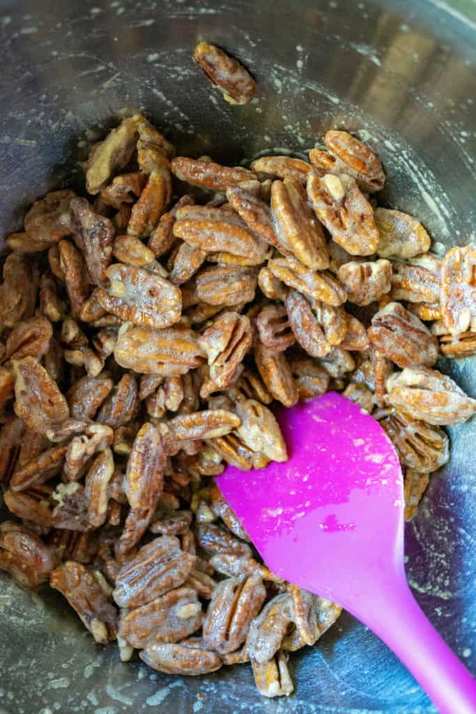 Cinnamon Sugar Candied Pecans coated pecans