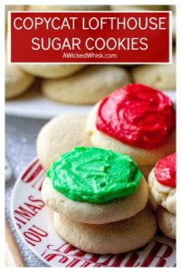 Copycat Lofthouse Sugar Cookies are the perfect sugar cookies just like the ones you find in the grocery store. Thick cake-like vanilla cookies that melt in your mouth, slathered with sweet homemade buttercream frosting. | A Wicked Whisk #lofthousesugarcookies #lofthousesugarcookiesrecipe #lofthousecookies #lofthousecookierecipe #lofthousesugarcookiescopycat #lofthousesugarcookieseasy #lofthousesugarcookiesnosourcream #bestlofthousesugarcookies #lofthousesugarcookiesrecipegrocerystore