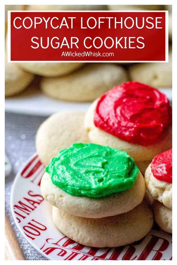 Copycat Lofthouse Sugar Cookies are thick soft cake-like cookies like the ones you find in the grocery store, slathered with sweet homemade buttercream frosting. #lofthousesugarcookies #lofthousecookies #copycatlofthousecookies #copycatlofthousesugarcookies #christmascookies #frostedchristmascookies #lofthousecookiesrecipe #lofthousesugarcookiesrecipe #bestchristmascookies #decoratedchristmascookies #christmassugarcookies