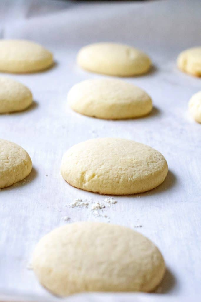 Copycat Lofthouse Sugar Cookies on a baking sheet