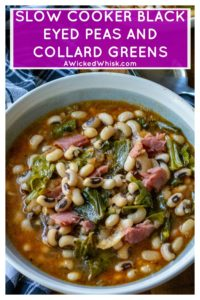Slow Cooker Black Eyed Peas and Collard Greens is the perfect Southern comfort food to celebrate New Year's Day or ANY day! Made with a leftover ham bone and simmered in a rich tasty broth, these Slow Cooker Black Eyed Peas and Collard Greens are a delicious addition to your New Year's Day menu. #blackeyedpeas #slowcookerblackeyedpeas #blackeyedpeasandcollardgreens #newyearsdayfood #southernfood #slowcookerblackeyedpeasandcollardgreens