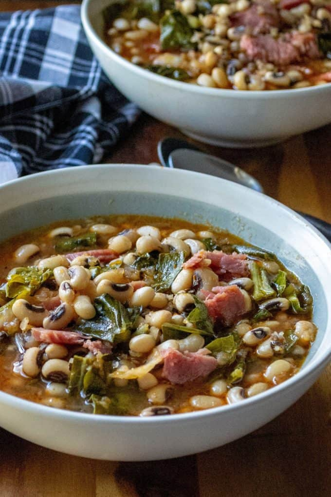 Slow Cooker Black Eyed Peas and Collard Greens in a bowl