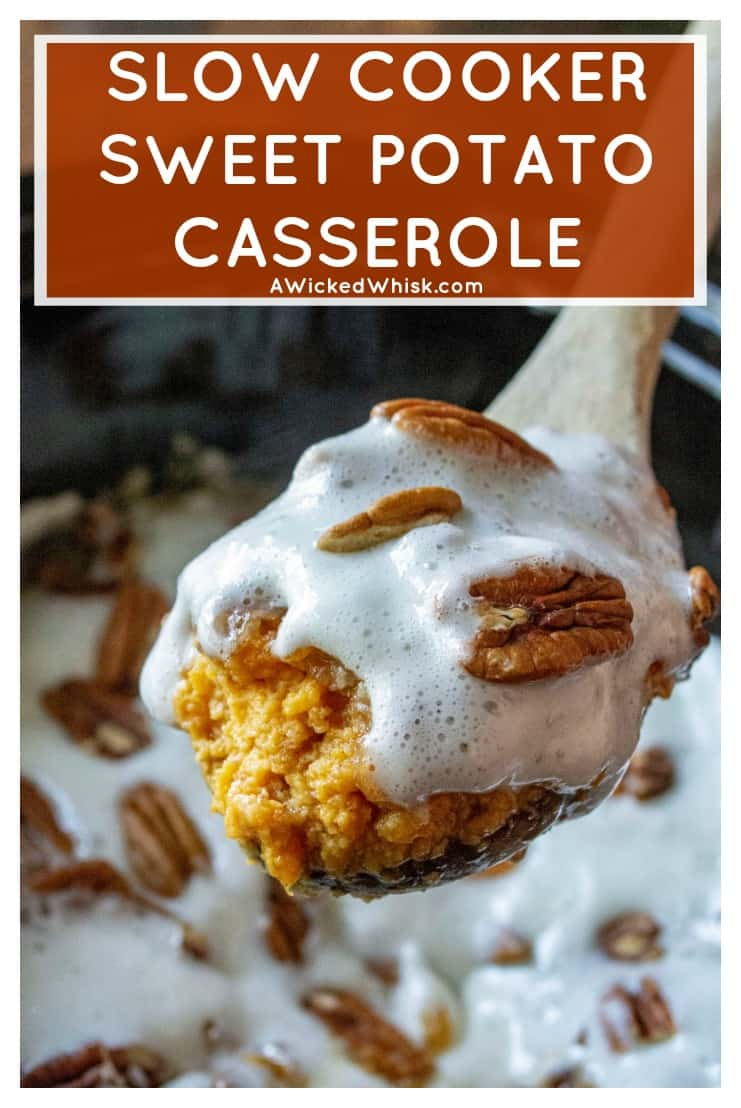 Slow Cooker Sweet Potato Casserole is delicious easy sweet potato casserole with pecans and sweet marshmallows all made simple in your slow cooker. #sweetpotatocasserole #slowcookersweetpotatocasserole #slowcookersidedish #holidayslowcookersidedish #sweetpotatocasserolewithpecans #sweetpotatocasserolewithpecansandmarshmallows #easyholidaysidedish #easysweetpotatocasserole