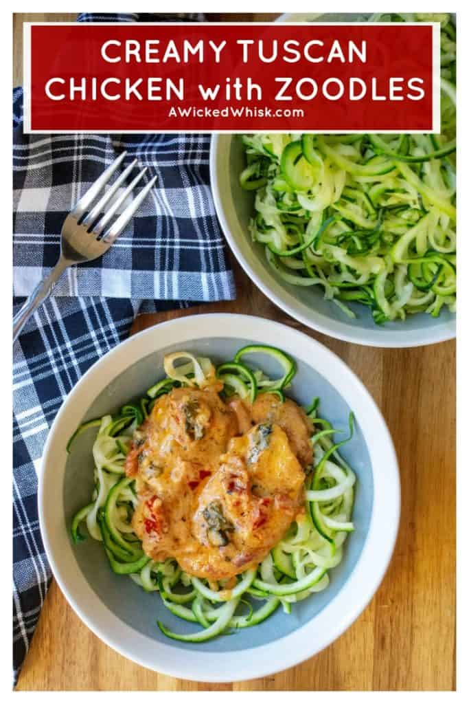 Creamy Tuscan Chicken is tender skillet chicken in a creamy cheese sauce full of sun dried tomatoes, fresh basil and served over a bed of zoodles . Soon to be one of your favorite one pan meals, this Creamy Tuscan Chicken is a low carb keto friendly recipe ready in just 30 minutes! #tuscanchicken #creamytuscanchicken #zoodles #chickenandzoodles #lowcarbchickendinner #lowcarbrecipes #ketochickendinner #ketodinner #ketorecipes #lowcarbdinner #zoodlerecipes