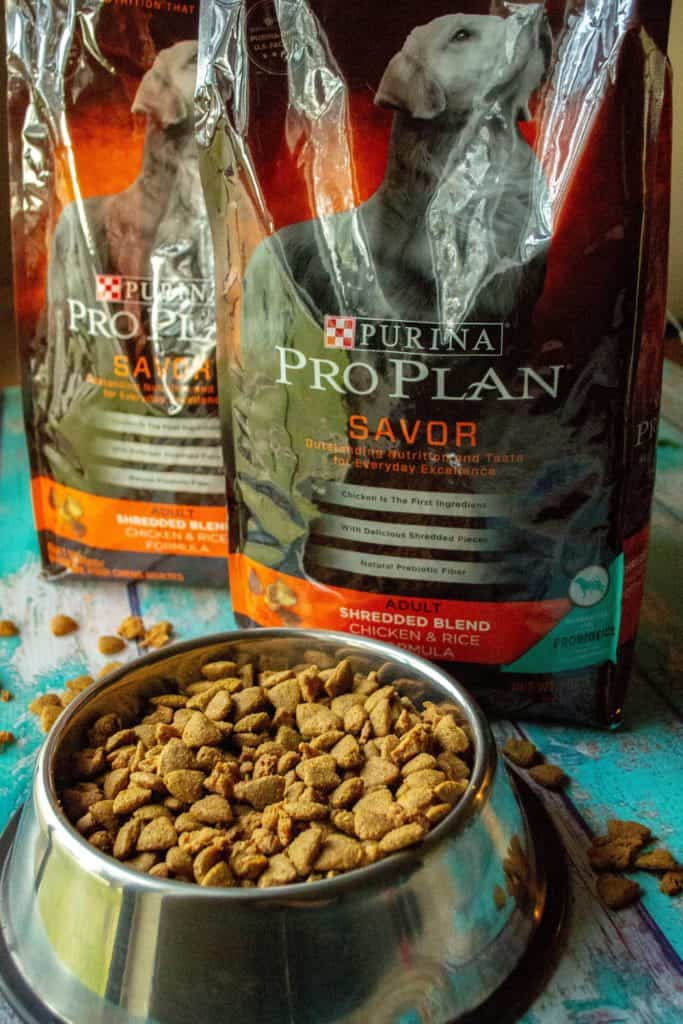 Purina® Pro Plan® Savor® Shredded Blend Chicken & Rice Formula Adult Dry Dog Food. Packed with positive probiotics and backed by 85+ years of experience, Purina® Pro Plan® Savor® Shredded Blend Chicken & Rice Formula Adult Dry Dog Food