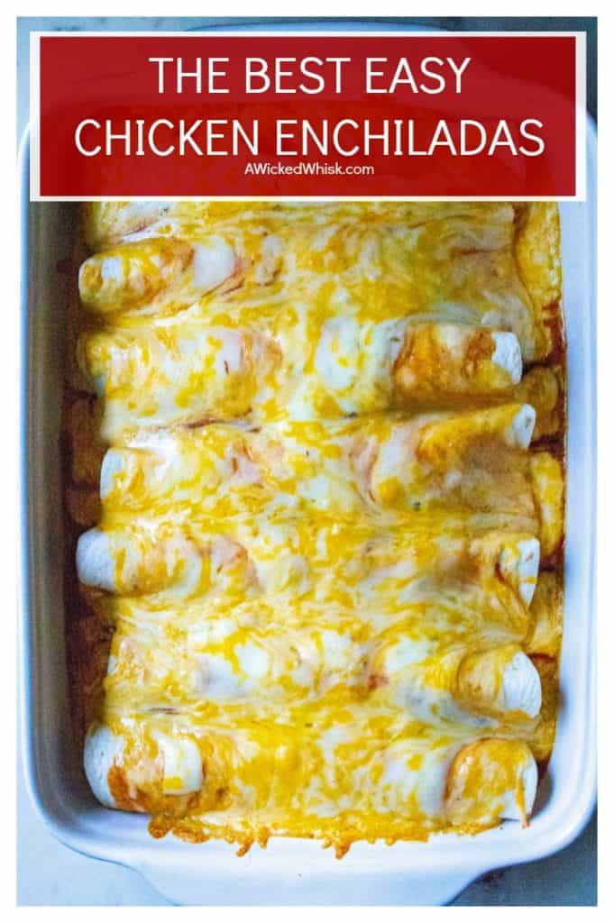 Easy Chicken Enchiladas is the BEST chicken enchiladas recipe ever! Made with homemade enchilada sauce, thisEasy Chicken Enchiladas recipe it packed with delicious Mexican flavor, tender chunks of chicken and tons of melty cheese! #enchiladas #easyenchiladarecipe #easychickenenchiladas #easymexicanenchiladasrecipe #mexicanenchiladas #eachenchiladas #chickenenchiladas #easymexicanrecipe #mexicanfood #homemadeenchiladasauce