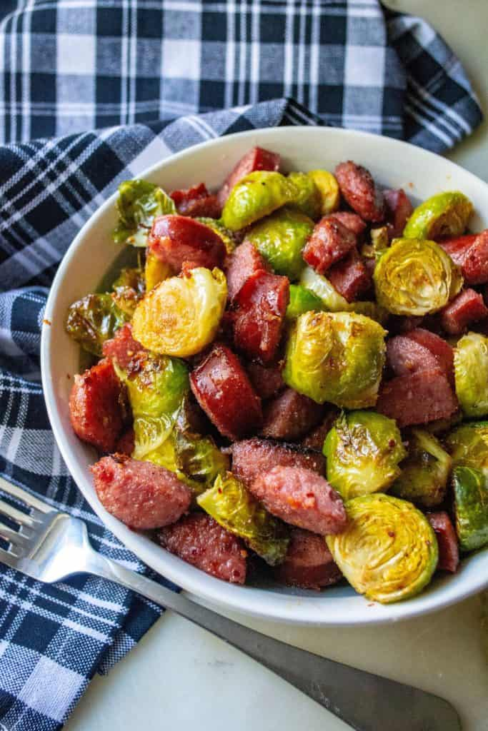 Roasted Brussel Sprouts and Kielbasa in a bowl
