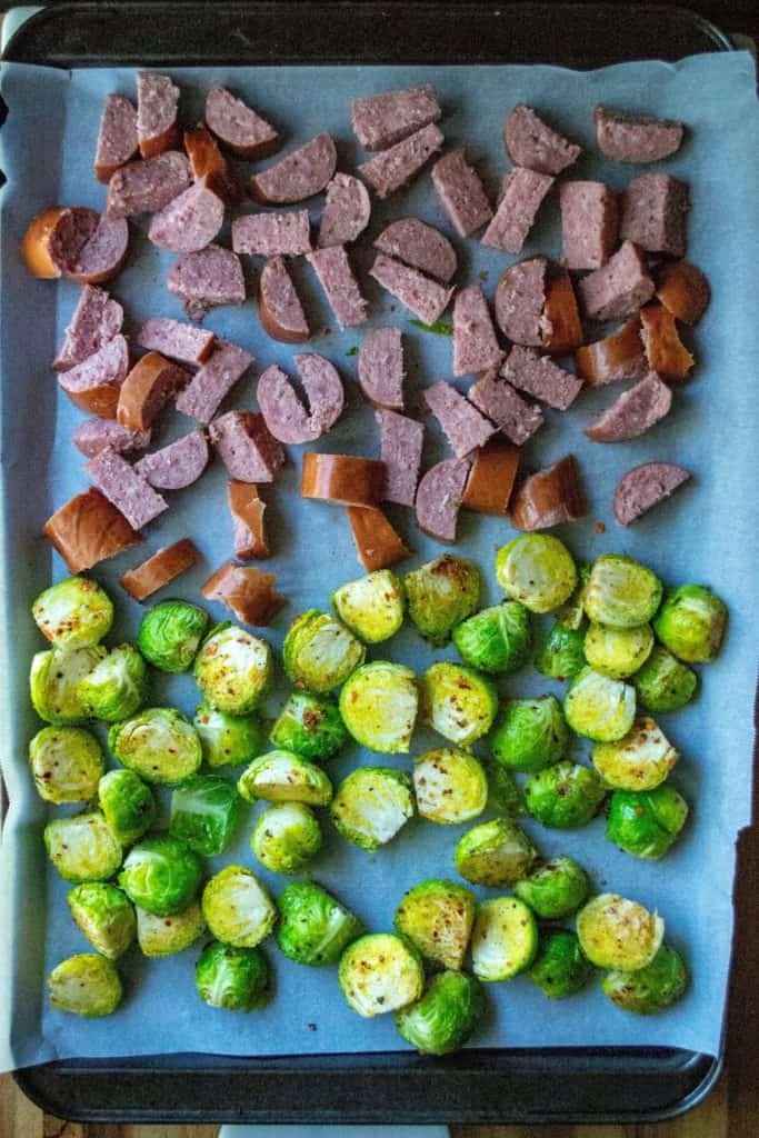 Roasted Brussel Sprouts and Kielbasa sheet pan meal